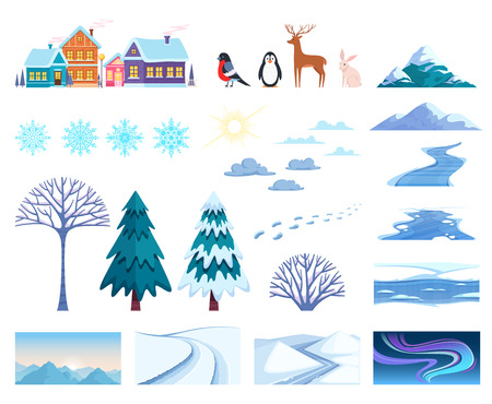 Winter landscape elements set with houses trees and snow isolated flat vector illustration Illustration