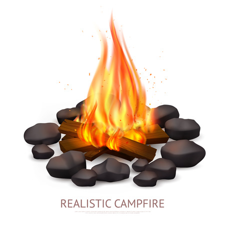 Realistic campfire composition with images of lump wood on fire with stones flame and editable text vector illustration