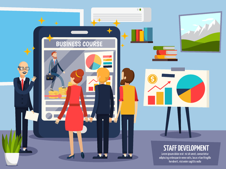 Staff development orthogonal composition with leadership offering online business course to employees on mobile device vector illustration Illustration