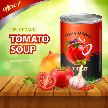 Can of tomato soup background with packshot of preserved food with vegetable images on wooden table vector illustration