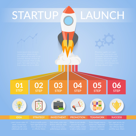 Startup launch infographics with development stages including idea, strategy, investment, promotion, teamwork on blue background vector illustration Иллюстрация
