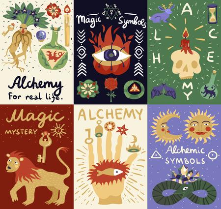 カラフルな錬金術落書きカードは別の魔法と錬金術のシンボル分離ベクトル図