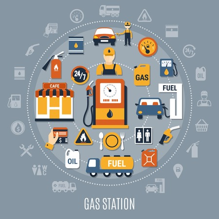 Flat gray fuel pump composition with big circle and flat colored elements vector illustration