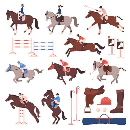 Sport jeździecki zestaw płaskich ikon z jeźdźcami i graczami w polo, konie, sprzęt, płotki na białym tle ilustracji wektorowych