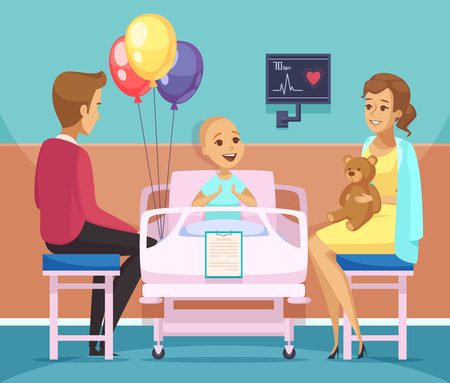 Cancer kid patient composition composition with family and oncology symbols flat vector illustration