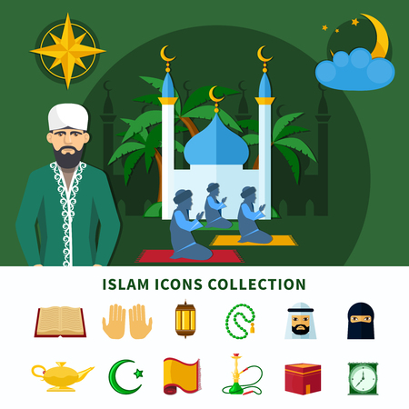 Religions flat icon set composition with isolated icons collection about Islam religion vector illustration