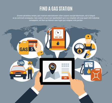 Fuel pump poster with find a gas station description and online search on tab vector illustration