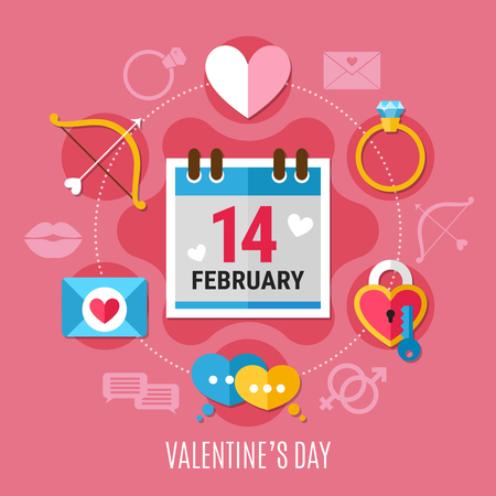Colored and flat valentines day composition with romantic elements around this date vector illustration