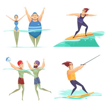 물 스포츠를 하 고 사람들이 벡터 일러스트 레이 션 흰색 배경에 고립 된 2 x 2 만화 디자인 개념