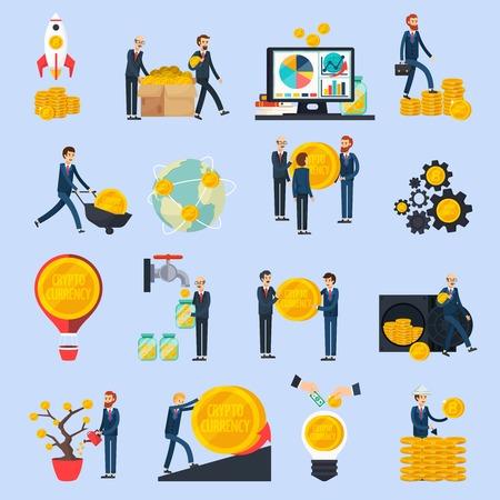 Ico blockchain concept set of orthogonal icons.