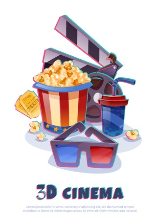 3D cinema cartoon composition with film roll, glasses, popcorn with drink, clapper and tickets illustration.