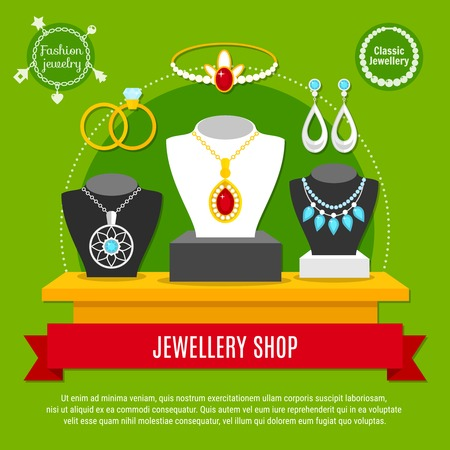 Classic and fashion jewelry decorations shop with necklaces, engagement rings, diadem, composition on green background vector illustration