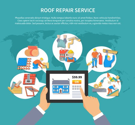 Roofer colored flyer with roof repair service description and place for text vector illustration