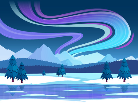 Winter and northern lights composition with snow landscape and sky flat illustration. Illustration
