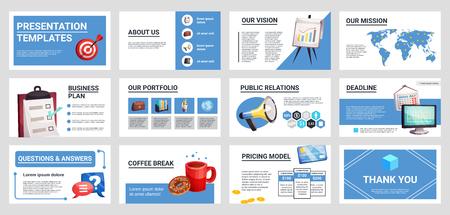 企業の広報活動は、戦略の専門的なプレゼンテーションテンプレートを対象としています。 写真素材 - 91598401