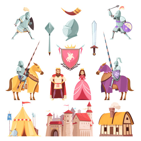 Royal heraldry cartoon icons. 일러스트