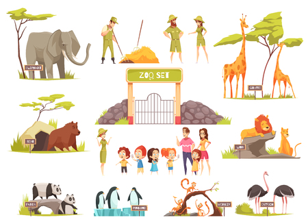 Cartoon set of happy children with their parents looking at various animals at zoo isolated on white background vector illustration