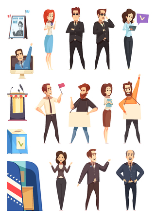 Presidential election campaign participants attributes cartoon icons collection with candidates supporters activists and slogans isolated vector illustration Stok Fotoğraf - 91674266