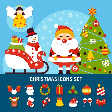Set of christmas icons with year tree, snowman on sleigh, angel, santa, holiday decorations isolated vector illustration