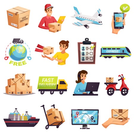Worldwide express delivery shipment tracking and courier services icons collection with transportation operators parcels isolated vector illustration Illustration