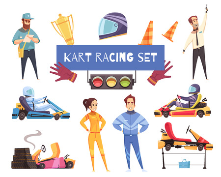 Colorful set of karting racers and equipment isolated on white background cartoon vector illustration Stock Illustratie