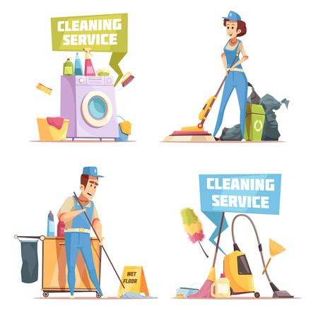 Concetto di progetto di servizio di pulizia 2x2 con gli impiegati della società di pulizie che lavano l'illustrazione piana dell'interno di vettore Archivio Fotografico - 91674288
