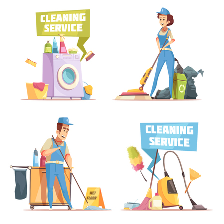 Reinigungsservice 2x2 Design-Konzept mit Mitarbeitern der Reinigung Reinigung Pflanze flache Vektor-Illustration Standard-Bild - 91674288