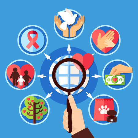 Charity concept with image of human hand holding magnifying lens with love support and donation pictograms vector illustration