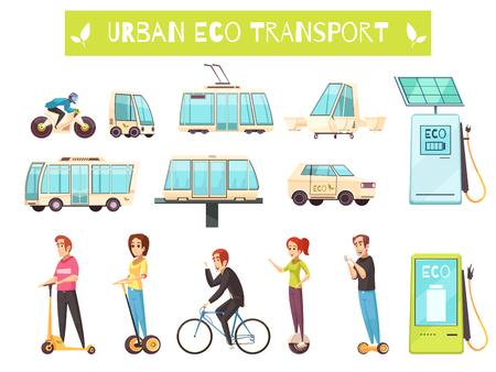 Cartoon set van verschillende soorten stedelijk ecovervoer en mensen die het gebruiken.