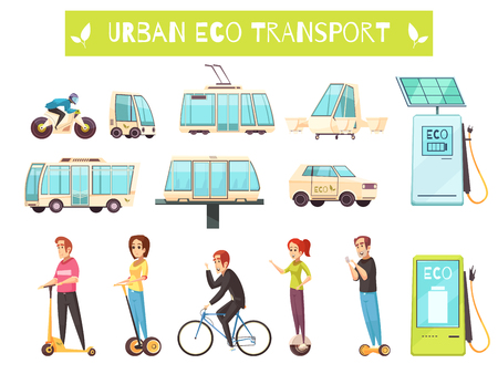 Cartoon set of various kinds of urban eco transport and people using it. Vectores