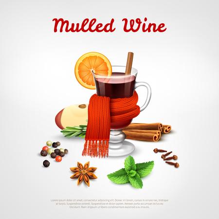 L'insieme di concetto di progetto del vin brulé del bicchiere di vino ha legato l'illustrazione realistica di vettore dello scaffale arancio caldo della sciarpa e della spezia della sciarpa Archivio Fotografico - 91674289