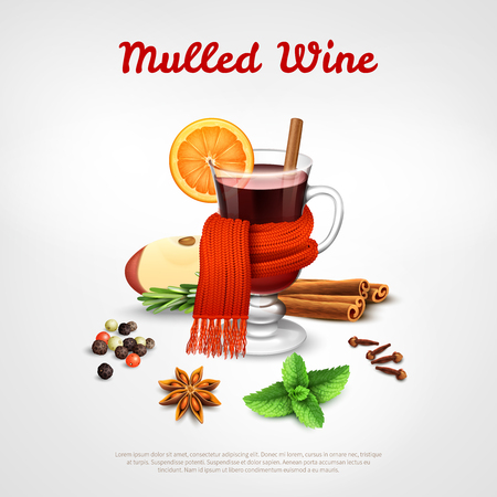 Mulled wine design concept set of wineglass tied warm scarf orange slice and spice rack realistic vector Illustration