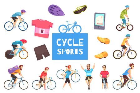 Cycle racing sports participants and apparel isolated on white background cartoon vector illustration