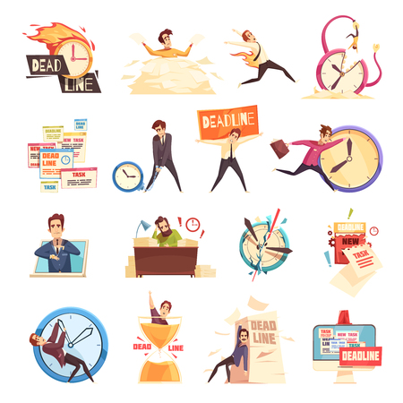 Workload deadline disasters project managers work related stress and burnout symbols cartoon icons collection isolated vector illustration