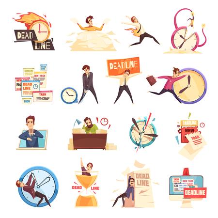 Los gerentes de proyecto de desastres de la fecha límite de carga de trabajo trabajan ilustración de vector aislado de colección de iconos de dibujos animados de símbolos de estrés y agotamiento relacionados Ilustración de vector