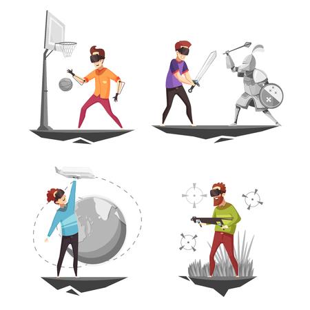 バーチャルリアリティメガネ体験4ゲームアイコンは、バスケットボール選手孤立した漫画ベクトルイラストでコンセプトスクエアを設定