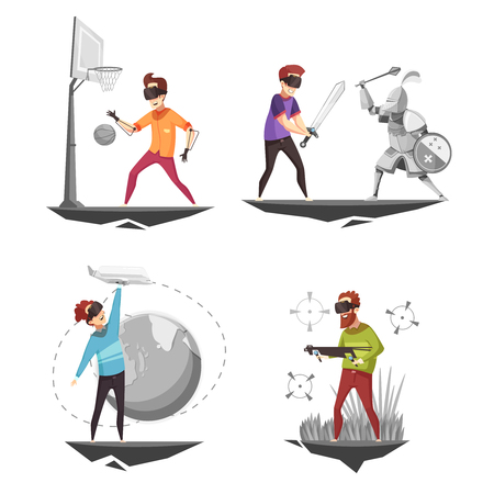 가상 현실 안경 경험 4 게임 아이콘 농구 선수 격리 된 만화 벡터 일러스트와 함께 개념 사각형 일러스트