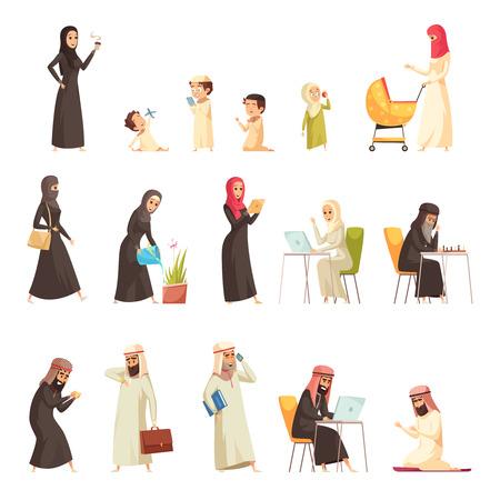 Arabische Familie Leben Kultur Traditionen Cartoon Symbole Sammlung mit Mann Frau zu Hause arbeiten isoliert Vektor-Illustration Standard-Bild - 91539052