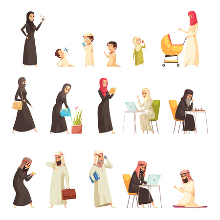 Arabs family life culture traditions cartoon icons collection with man woman home working praying isolated vector illustration