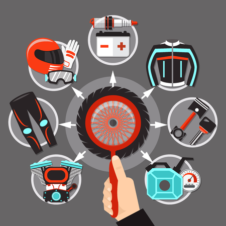 Bike icons in circle design with tire engine muffler spark accumulator pistons and biker gear flat vector illustration