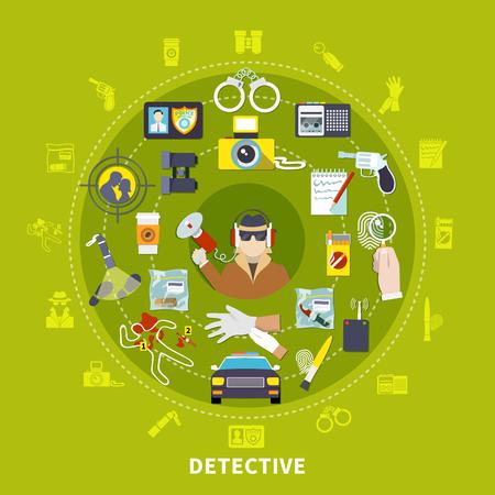 探偵と彼の作業ツールと仕事ベクトルイラストのためのものと探偵ラウンド構成  イラスト・ベクター素材