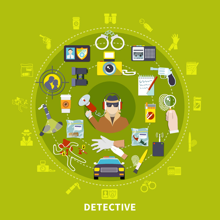Detective round composition with detective and his working tools and things for work vector illustration Illustration