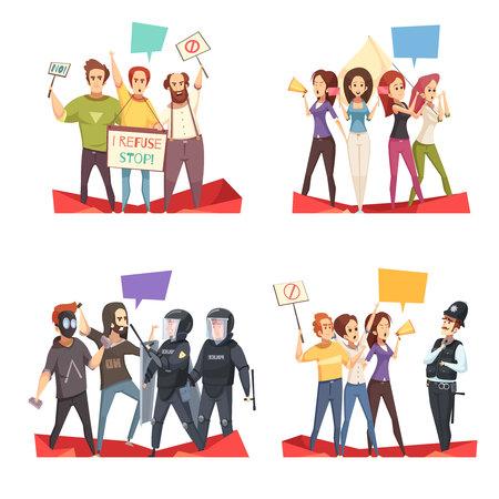 Protesterende menigte 2x2 ontwerpconcept met politieagenten en jongeren die hun vereistenbeeldverhaal vectorillustratie schreeuwen