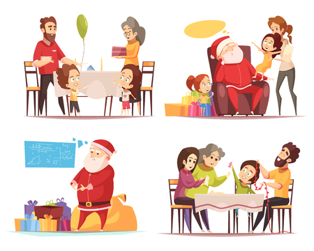 Tired santa claus with presents and people celebrating christmas 2x2 design concept isolated on white background cartoon vector illustration Vectores