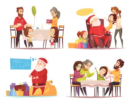 Müder Weihnachtsmann mit Geschenken und Menschen feiert Weihnachten 2x2 Design-Konzept isoliert auf weißem Hintergrund Cartoon Vektor-Illustration