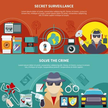 Two colored detective banner set with secret surveillance and solve the crime descriptions vector illustration