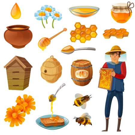Honey in various containers cartoon set including beekeeper with honeycombs, bees, hives, droplet, flowers isolated illustration. Ilustração