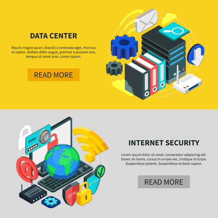 Cloud services horizontal banners with data center and Internet security isometric compositions 3d vector illustration