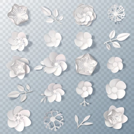 Set of realistic white paper flowers and leaves.