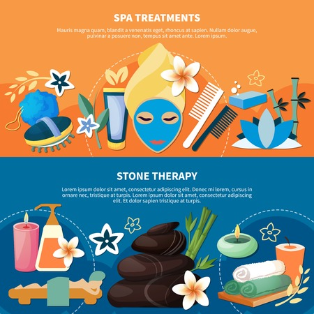 Spa health treatments with seawater baths hot stone and river rock massage 2 flat banners illustration.